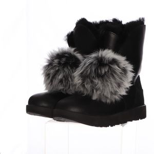 Ugg Vibram Waterproof Black Pom Boots Womens 9
